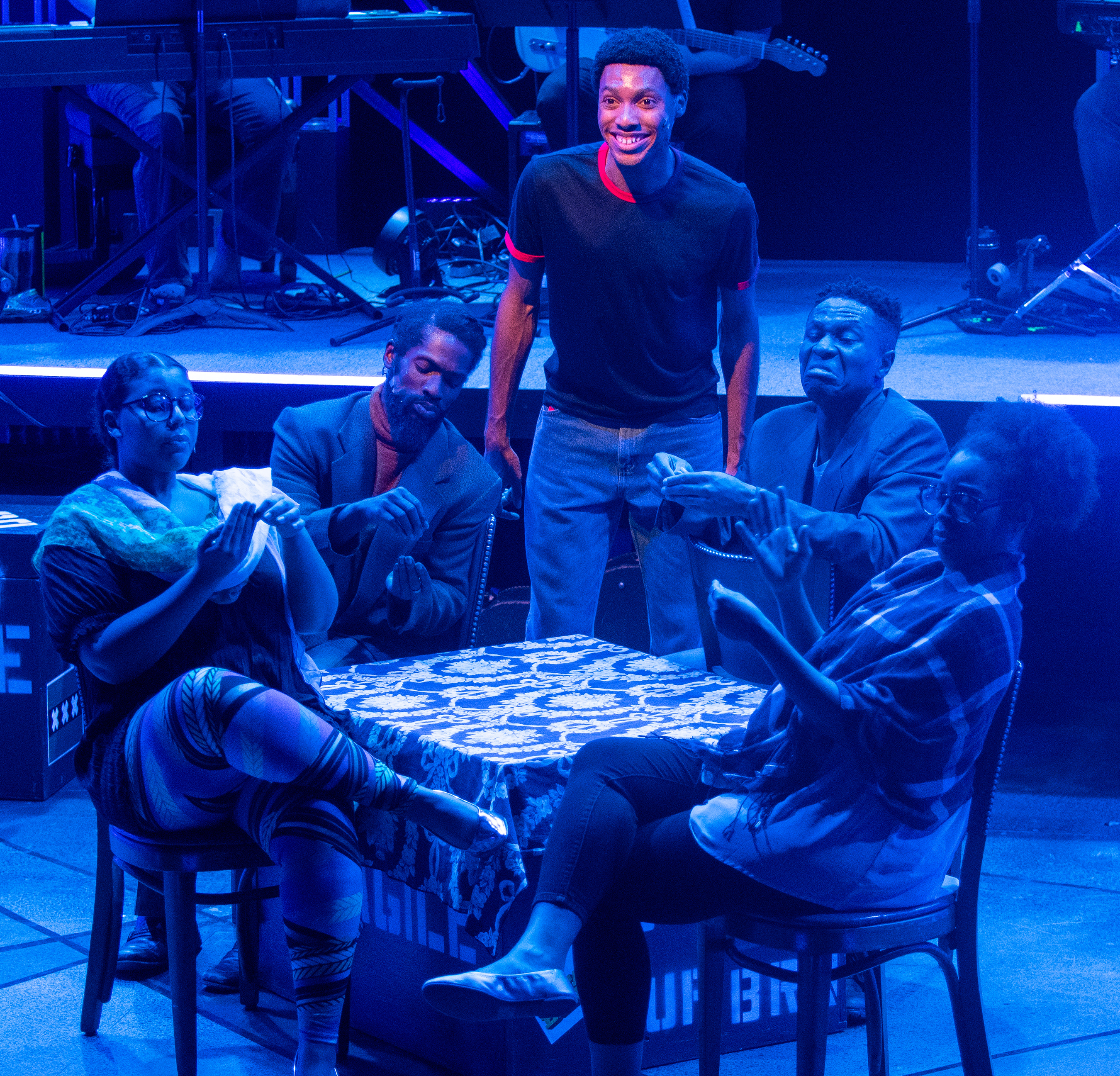 Passing Strange - Dylan Jones, Keydron Dunn, Keaton Hillman, Jamar Jones, Katrinah Carol Lewis, photo by Bill Sigafoos