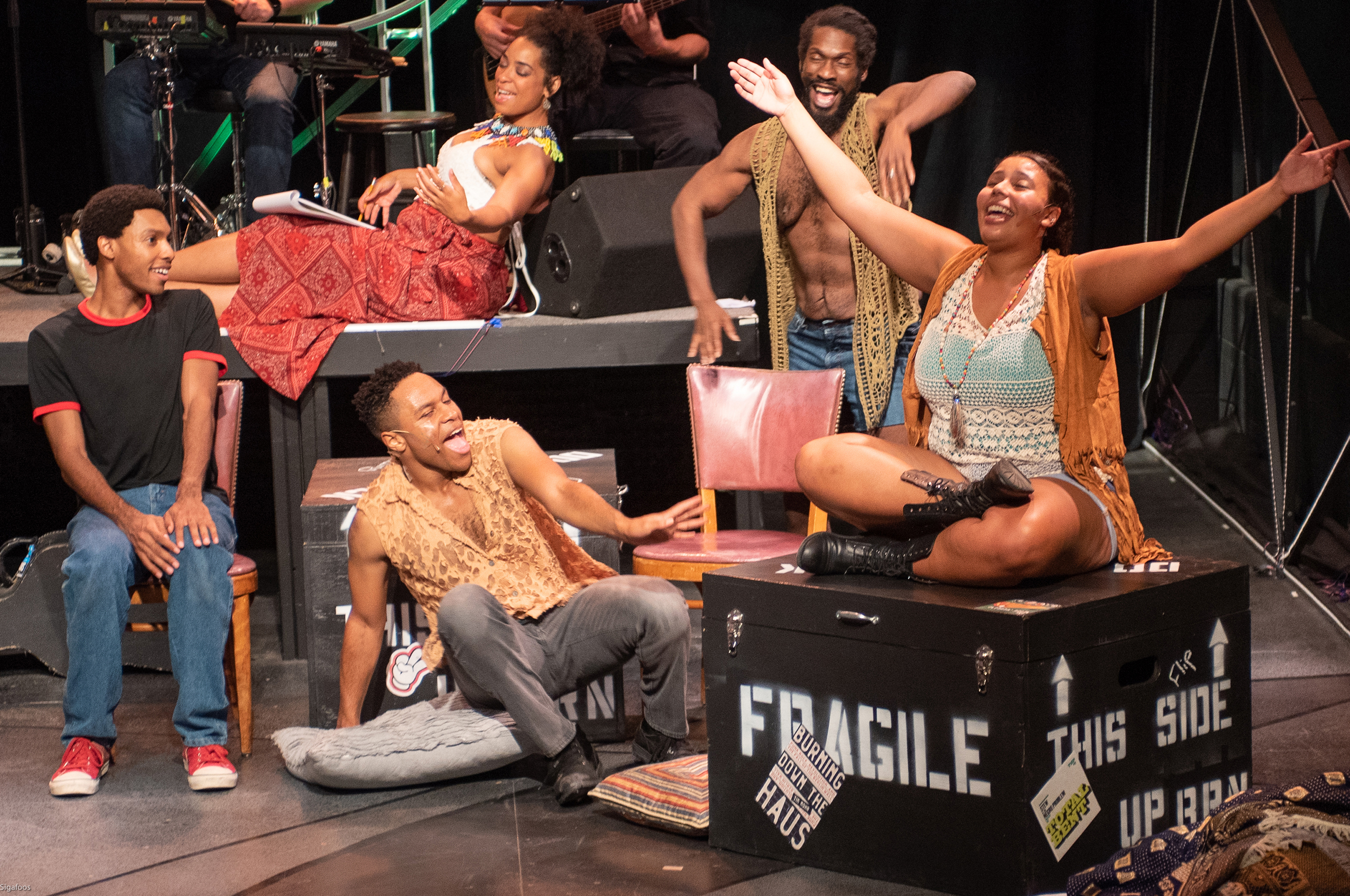 Passing Strange - Keaton Hillman, Jamar Jones, Katrinah Carol Lewis, Keydron Dunn, Dylan Jones, photo by Bill Sigafoos