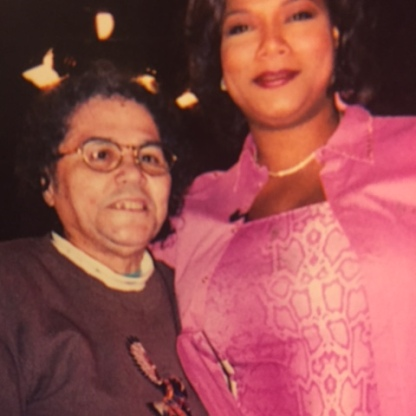 "Queen Latifah and my mom, Emma Christine Lewis, on the set of ""The Queen Latifah Show,"" circa 2000"