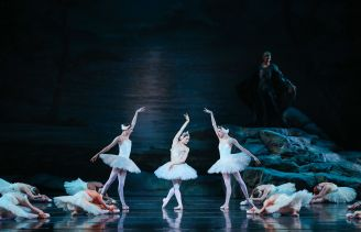 American Ballet Theatre dancer Sarah Lane with Richmond Ballet dancers in Swan Lake by Nicholas Beriozoff, after Marius Petipa, Lev Ivanov, and Alexander Gorsky. Richmond Ballet. All Rights Reserved. Photo by Sarah Ferguson.